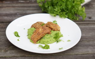 Breaded Chicken with Pea Puree