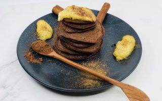 Chocolate Pancakes with Caramel Banana